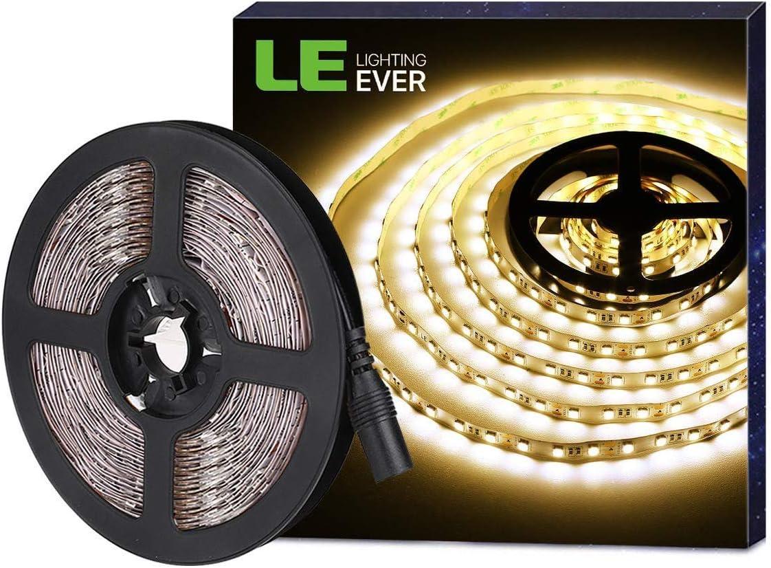 LE Tira LED, Tira Luz 5m 300 LED 5050, Blanco Cálido 3000K No Impermeable, Con DC Enchufe, 3600 Lúmenes, Luz tira para Techo, Escaparate, Muebles, etc
