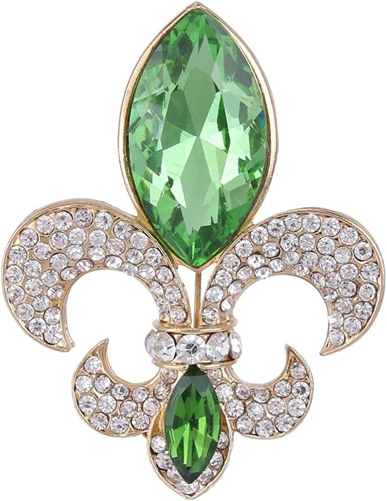EVER FAITH Rhinestone Crystal Elegant Fleur-de-lis Flower Teardrop Brooch Gold-Tone