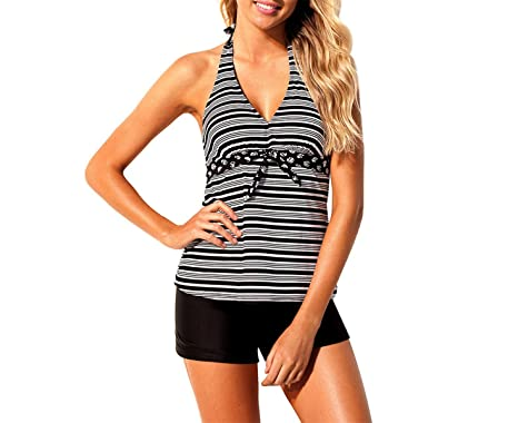 889dfa04be Amazon.com  Chiced Women s Plus Size Two Pieces Tankini Bikinis Print  Swimwear Beach Wear  Clothing