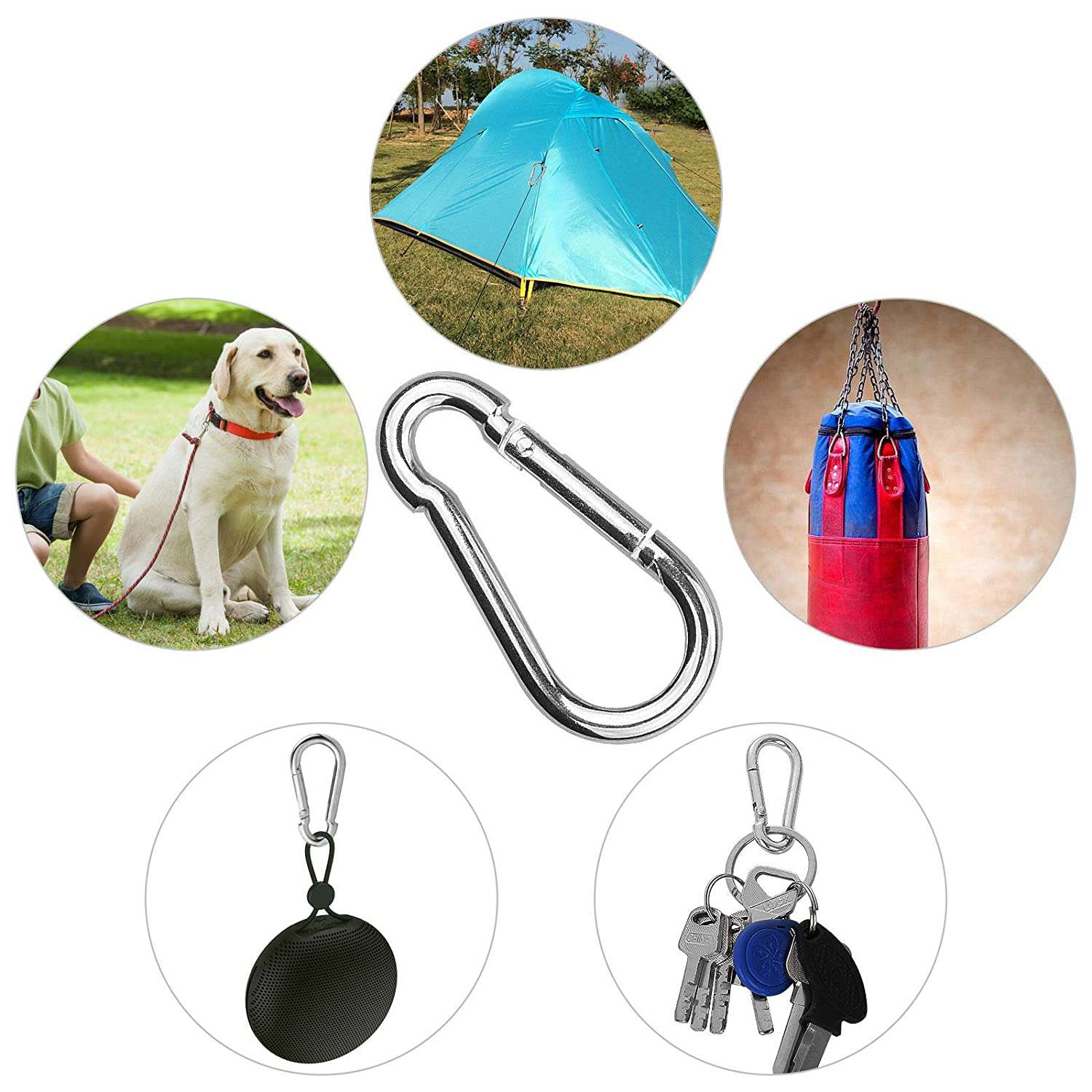 Carabiner Clip Galvanized Steel Small M5 Carabiners for Dog Leash /& Harness Outdoor and Gym 50 Pack Spring Snap Hook Hiking Silver Quick Link Clip Keychain for Camping
