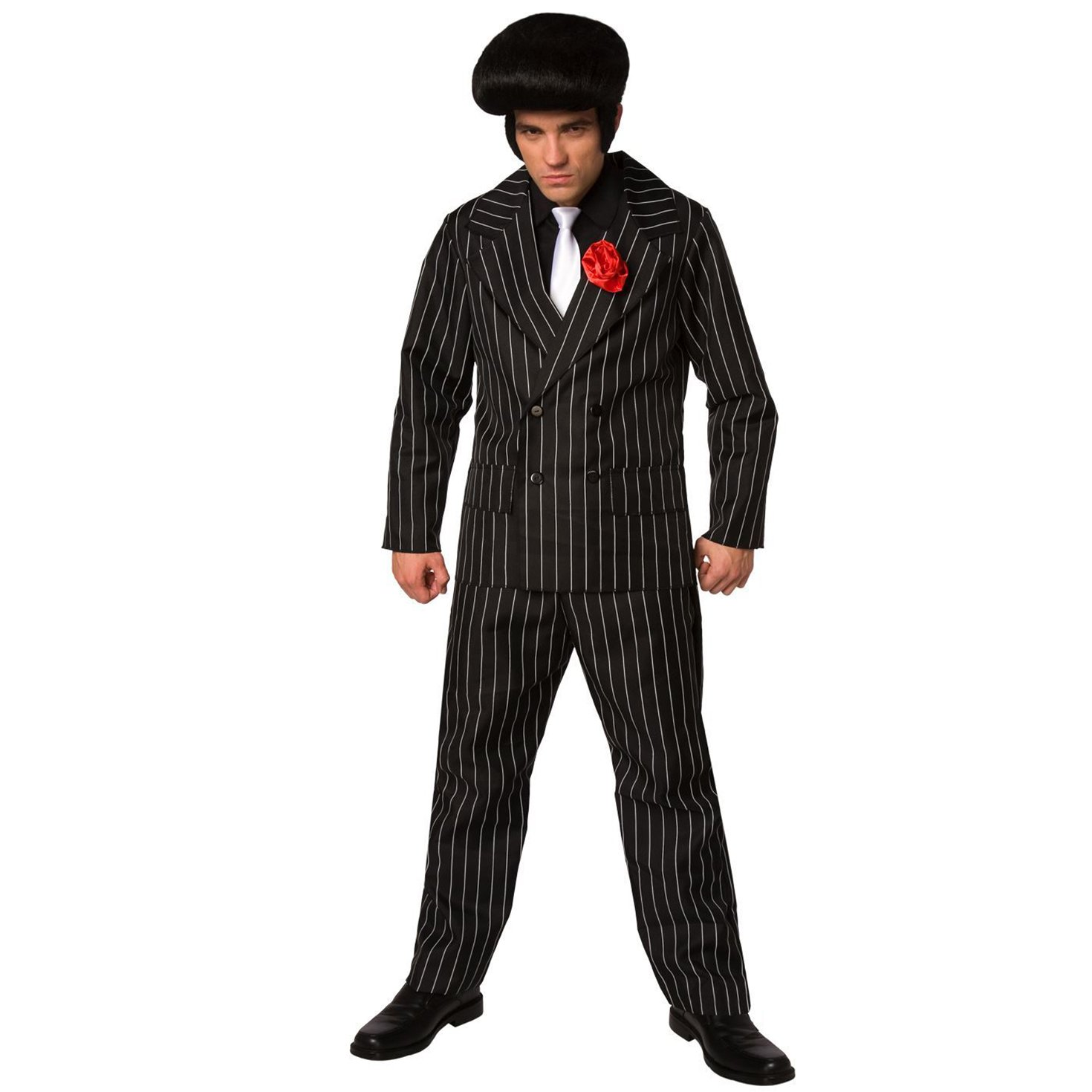 Mens 20s White Gangster Costume Pinstripes Male 1920s Mobster Fancy Suit Dress
