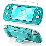 Funda protectora para Nintendo Switch Lite, protector de pantalla de vidrio templado, 4 ranuras para tarjetas de juego, funci