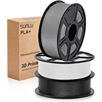 SUNLU 3D filament 1.75, PLA+ Filament 1.75mm, 3KG PLA+ Filament 0.02mm for 3D Printer 3D Pens, Black + White + Grey