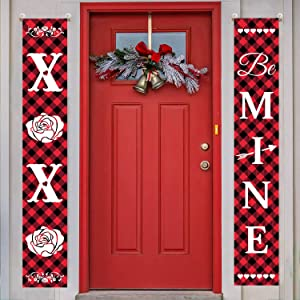 GPGHE Home Decorative 2 PCS Holiday Valentines Day Decorations Banners Door Porch Sign Buffalo Plaid 71 x 12 Inch XOXO BE Mine Wall Decor House Party Supplies VaBanner-1