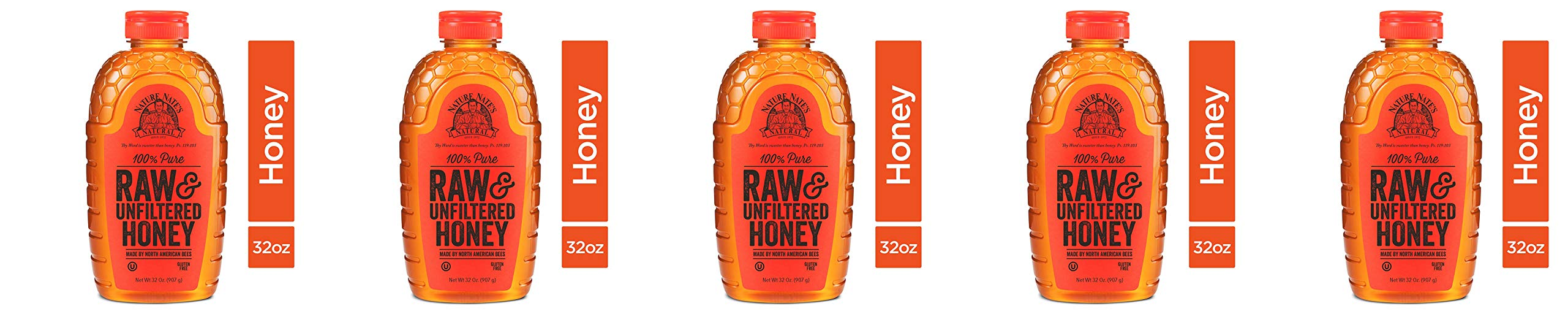Nature Nate's 100% Pure Raw & Unfiltered Honey; 32-oz. Certified; Enjoy Honey's Balanced Flavors, Wholesome Benefits and Sweet Natural Goodness, 5 Pack by Nature Nate's (Image #1)