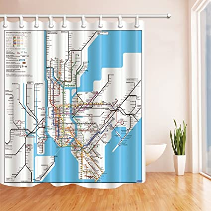 GoEoo 3D Digital Printing Map Decor New York City Subway Shower Curtain Mildew Resistant Fabric Bathroom