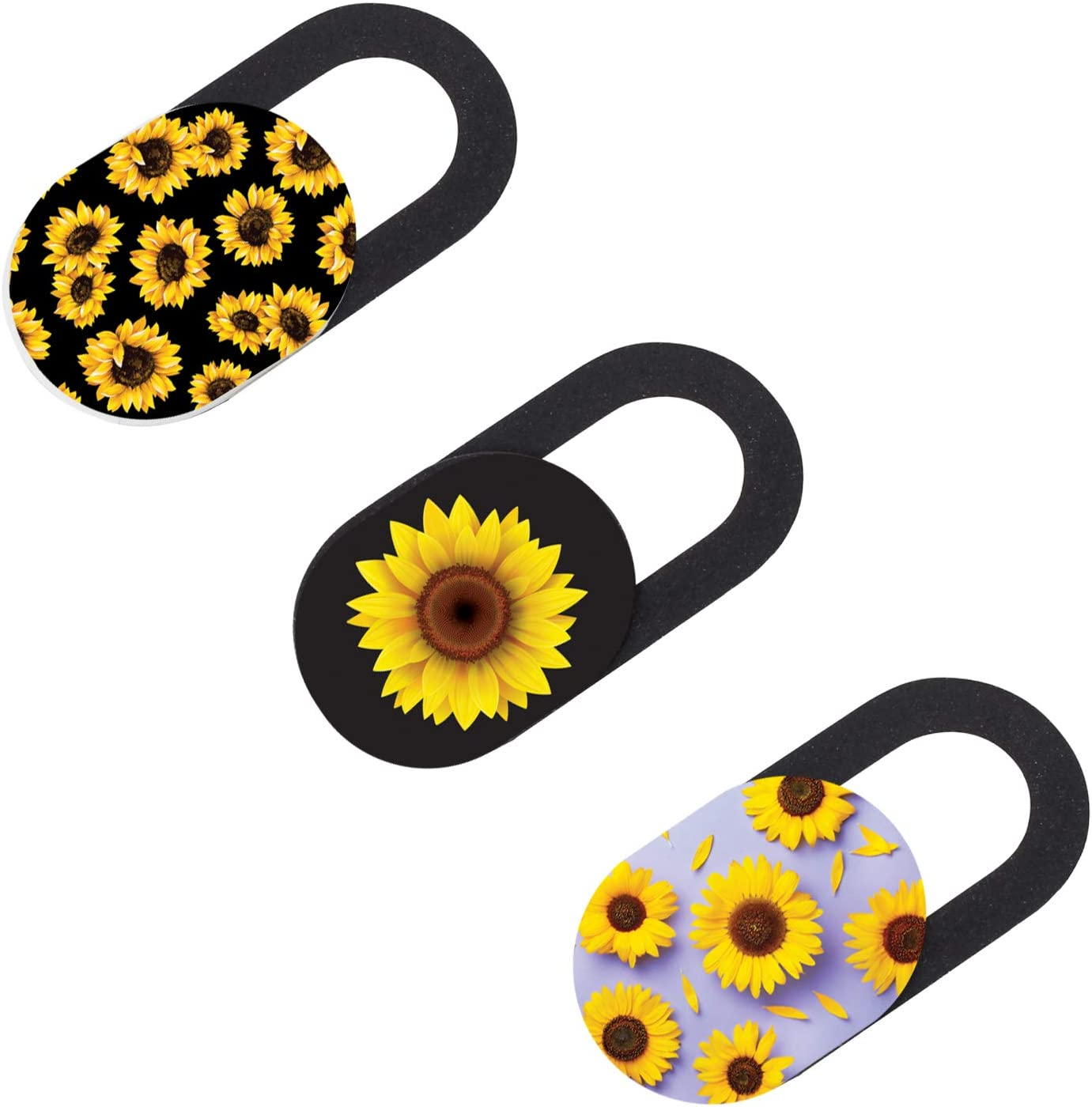 SLiDEE Laptop Camera Privacy Cover 3-Pack   0.7mm Ultra-Thin Camera Cover Slide   Strong Adhesive Sunflower Mix Design Webcam Cover Compatible for MacBook Pro/Air, iPhone, Computer, iPad, Cell Phones