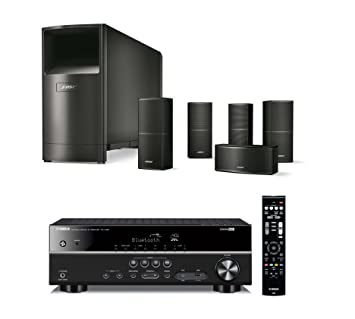 home theater 4k. bose acoustimass 10 series v wired home theater speaker system, black, with yamaha rx 4k