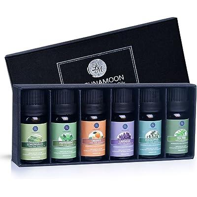 Lagunamoon Aceites Esenciales, Top 6 Set de Regalo de Aceites de Aromaterapia de Lavanda Eucalipto Hierba de Limón Menta Arból de Té y Naranja, Aceites Esenciales para Humidificadores 100% Puros