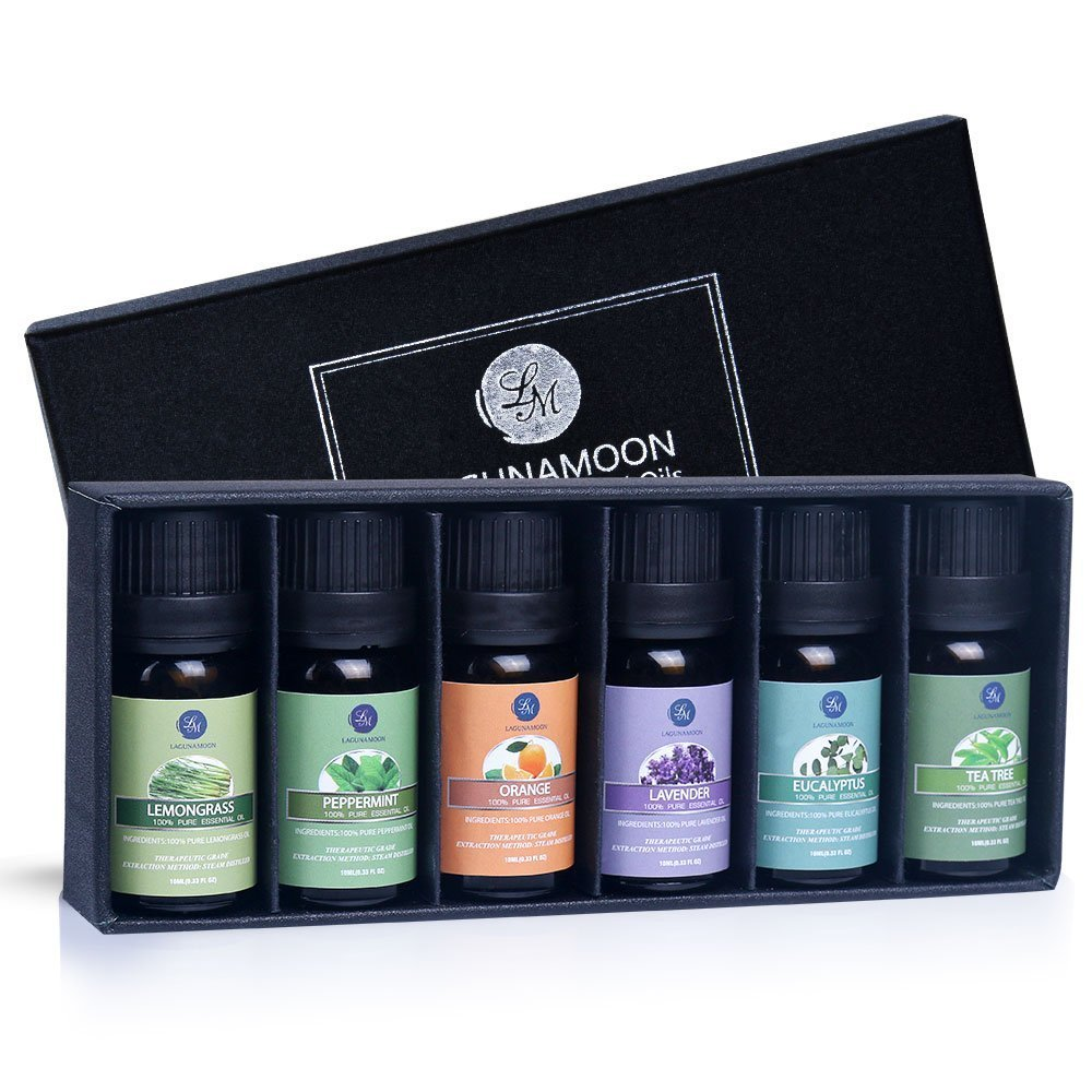 Lagunamoon Essential Oils Gift Set,Top 6 Aromatherapy Oils Orange Lavender Tea Tree Peppermint Eucalyptus Lemongrass