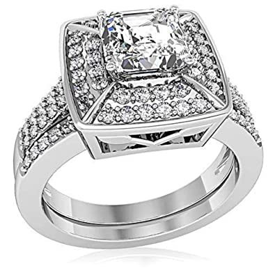 YourJewelleryBox S6X006 2PC CZ CUBIC ZIRCONIA ENGAGEMENT RING SET WEDDING BAND STERLING SILVER T8wV8VByyi