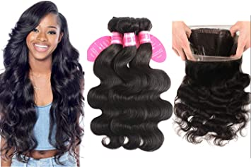 Beautiful Brazilian Body Wave Bundles With 1b Black Color Closure Pre Plucked Baby Hair Lace Closure Human Hair 3 Bundles Non Remy Hair Human Hair Weaves Hair Extensions & Wigs