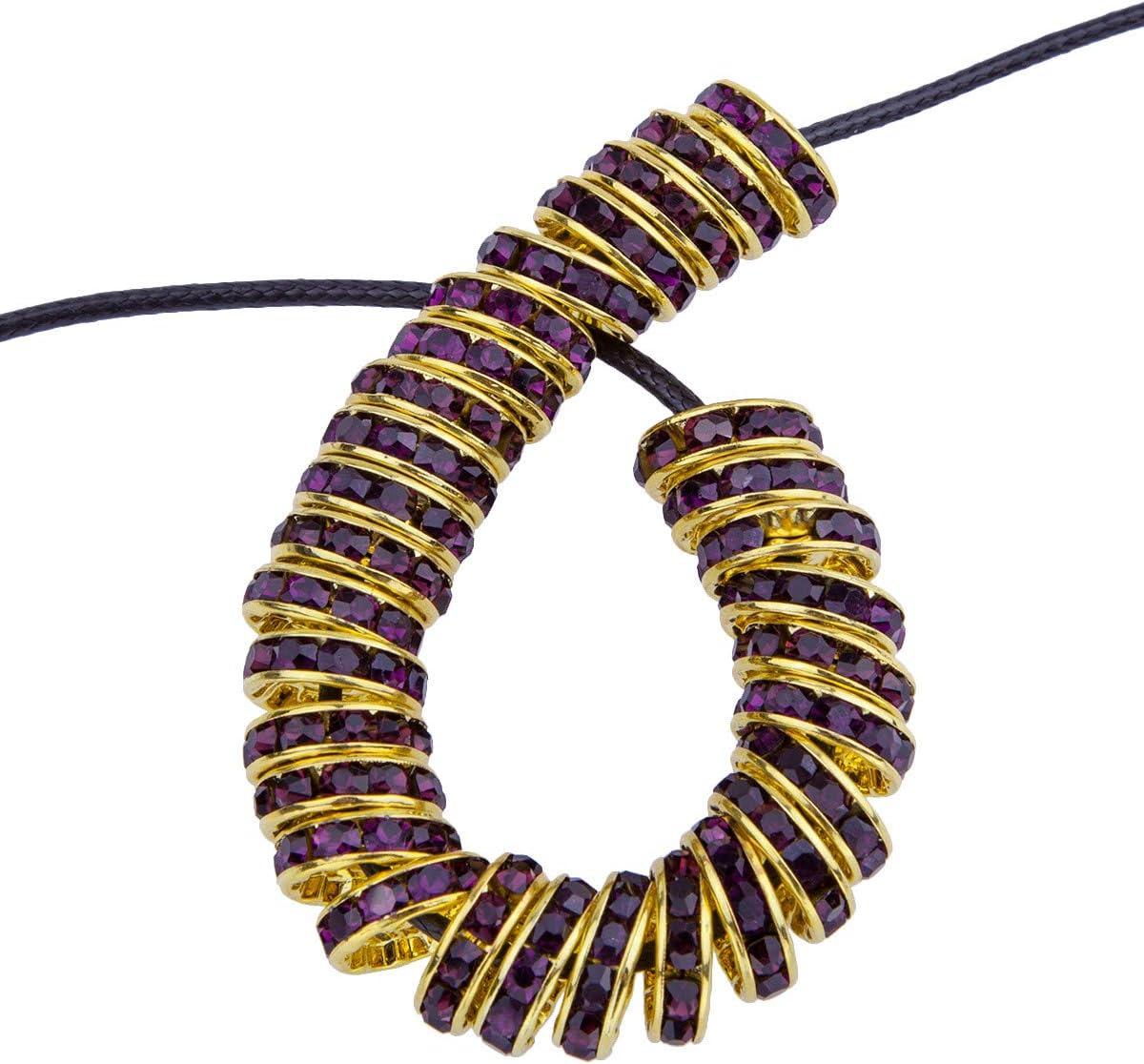 mookaitedecor - 50 Piezas de 12 mm de Oro con Brillantes Redondos para la fabricación de Joyas de Perlas de Cristal checas para Pulseras, Cristal, Morado, 12x12x4 mm