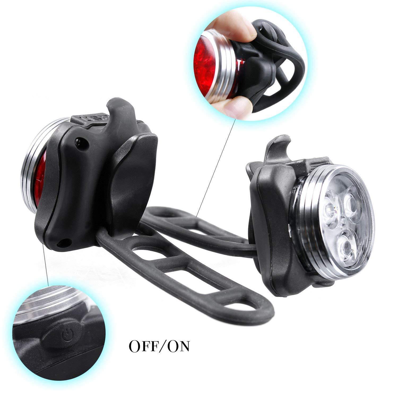 JVSISM LED Bike Lights Set USB Rechargeable Smart Sensors Waterproof Bicycle Headlight Taillight Flashlight Lights Sets