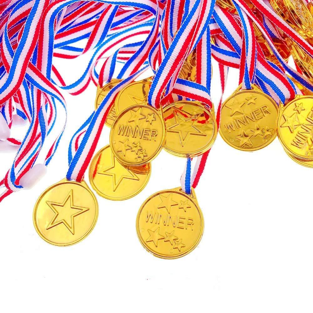 Yongbest Medaglie per Bambini,25 Pezzi Winners Medaglie di Vincitore di Plastica per Olimpiadi per Festa,Competizione,Giornata Sportiva,Giochi per Feste
