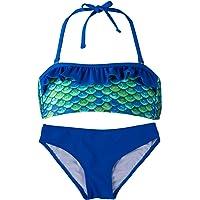 Fin Fun Mermaid Girl's Scale Bandeau Bikini Swimsuit Set – Mermaidens Swimwear