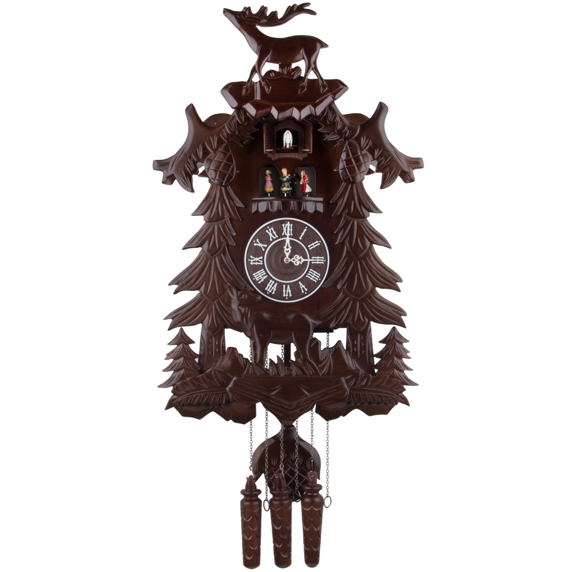 Kendal Vivid Large Deer Handcrafted Wood Cuckoo Clock with 4 Dancers Dancing with Music by Kendal