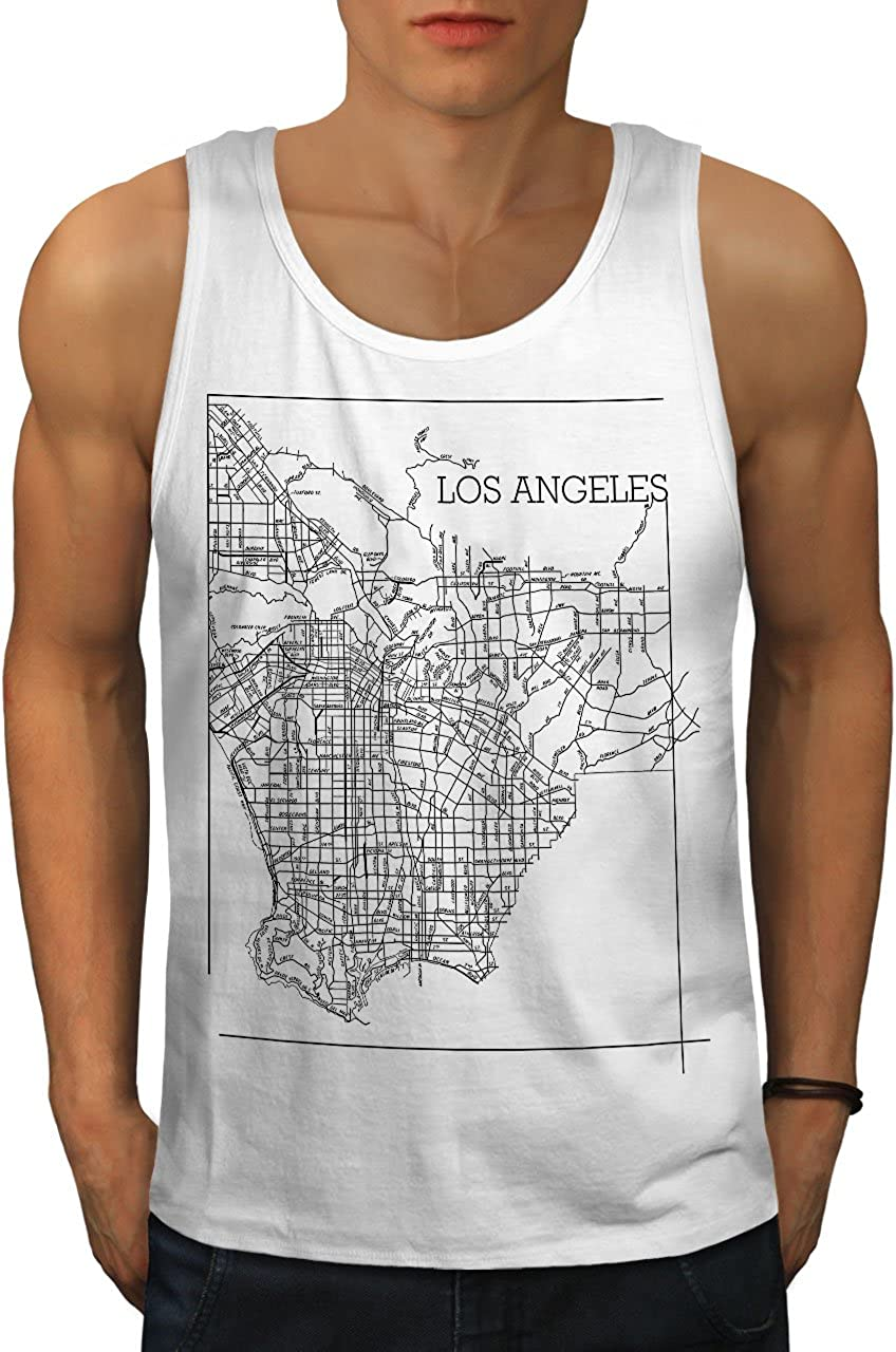 Town Fit Lifestyle Sports Shirt Wellcoda Los Angeles Map Fashion Mens Tank Top