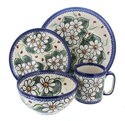 Polish Pottery Ladybug 4 Piece Dinner Set  sc 1 st  Amazon.com & Amazon.com: Polish Pottery Ladybug 4 Piece Dinner Set: Dinnerware ...