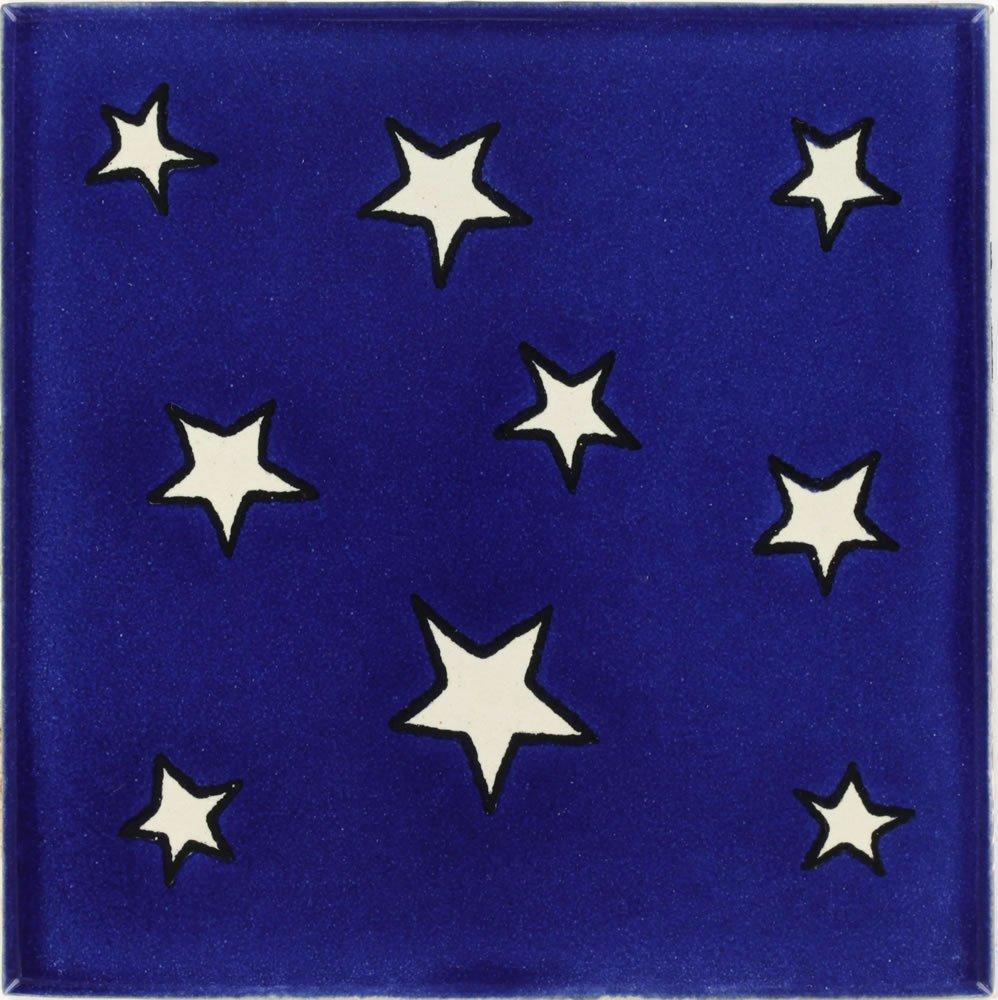 Tierra y Fuego Box of 90-4¼ x 4¼ Estrellas - Talavera Mexican Ceramic Tiles