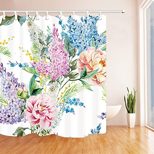 Hyacinth Floral Shower Curtain Lilac And Roses Wild Flowers Decor Watercolor Painting Waterproof Mildew
