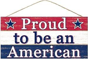 "Craig Bachman, 12"" Wooden Sign: Proud to be an American - Wood Patriotic Wall or Door Hanger AP8155"