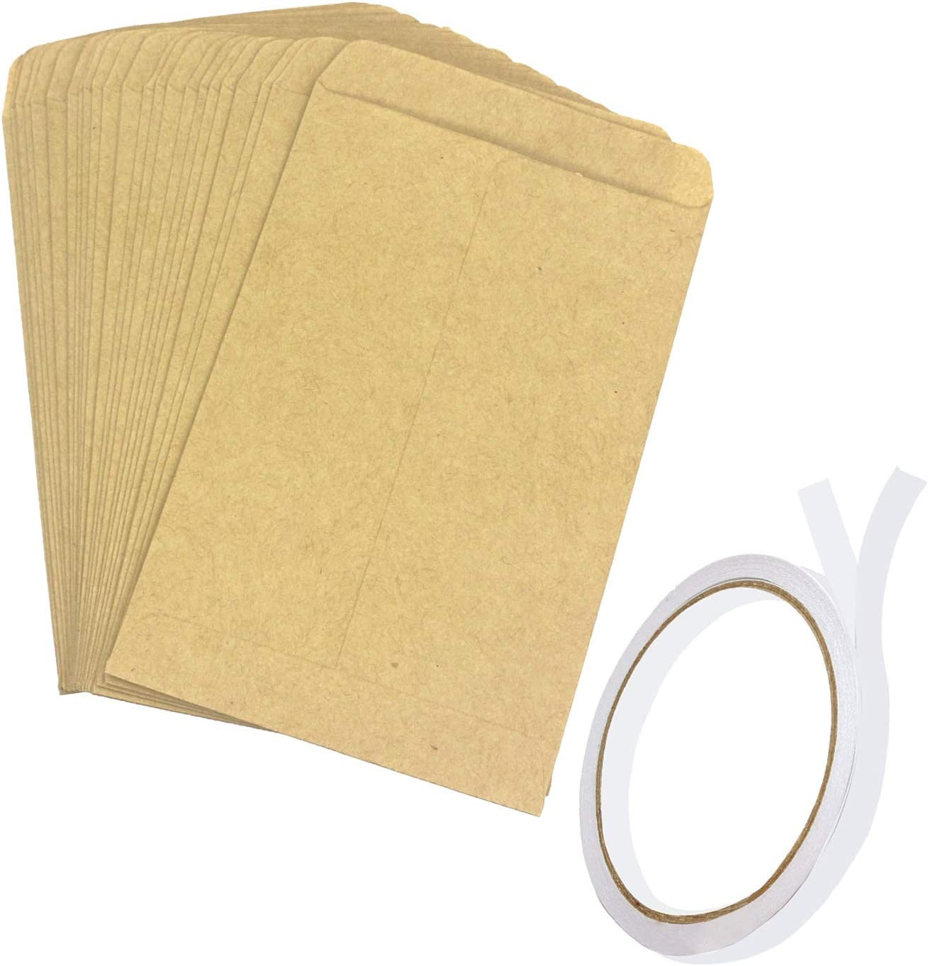 Brown Kraft Coin Packets Mini Envelopes Seed Paper Bags for Home and Garden Use 4.7x3.15Inches Trasfit 150 Pack Seed Envelopes with Double Sided Adhesive Tape