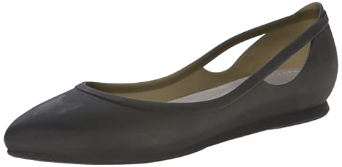 12f08e3c7 crocs Women s Rio Flat W Black and Platinum Rubber Ballet Flats - W5 (16265-