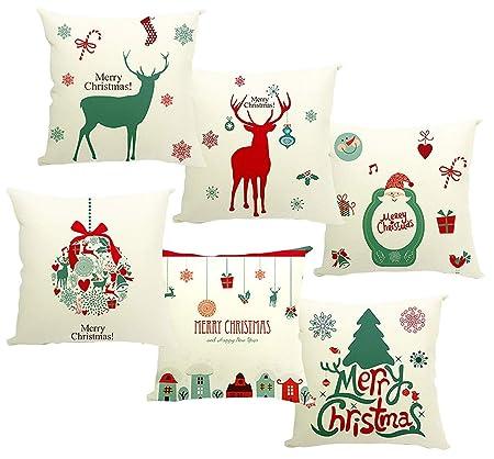 Dom Owin Almohada Navidad, Funda de Almohada 40 x 40 cm con ...