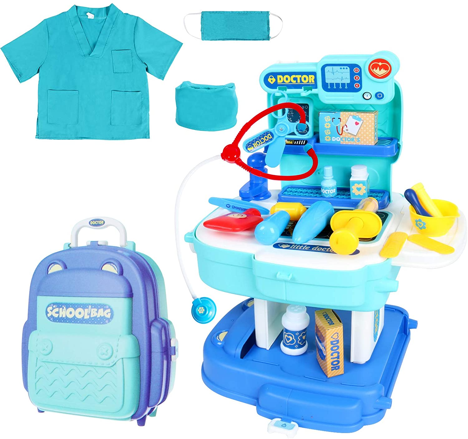 WINDUDU/Doctor/Kit/for/Kids/34Pcs/Realistic/Pretend/Medical/Playset/Toy/with Doc Costume Gift/for/Toddler/Boy/Girl
