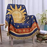 """Erke Moon and Sun Throw Blanket Featuring Decorative Tassels, Double Sided Cotton Woven Couch Bed Hippie Throws Cover - 50"""" X"""