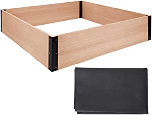 Quictent 48''x48''x11'' Extra-Thick Cedar Raised Garden Bed Wooden Elevated Planter Kit Box with 8 Advanced Resistant-Rust Metal Bed Corner Bracket Connectors for Grow Herbs Vegetable Flower