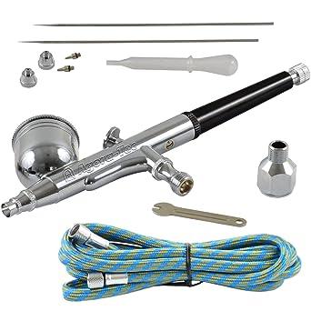 kit a/érographe AK-02 avec 1,8 m de tuyau et 3 buses diff/érentes et des aiguilles 0,2 mm 0,3 mm 0,5 mm Agora-Tec