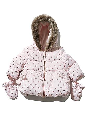 eccba19a22be M Co Baby Girl Long Sleeve Pale Pink Foil Spot Print Faux Fur Trim ...