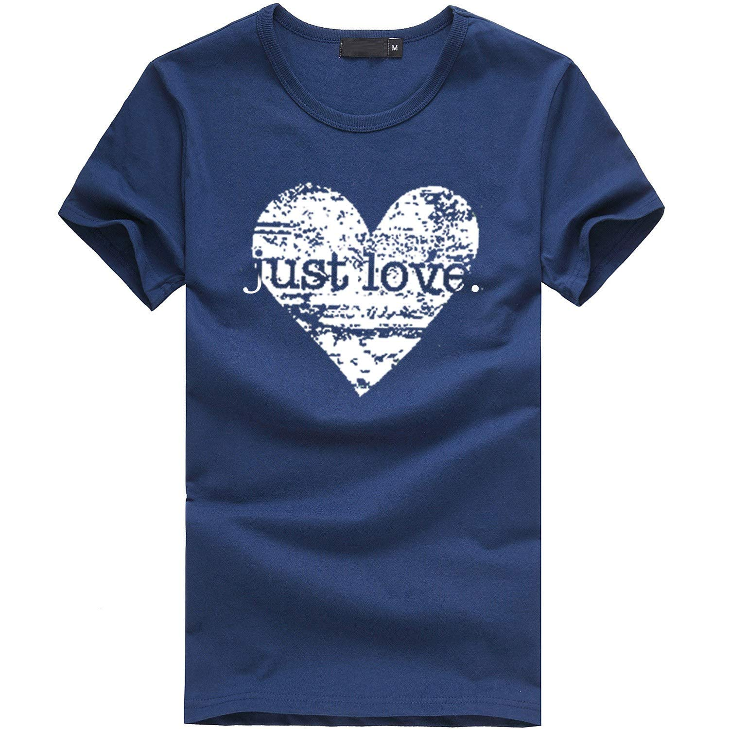 Valentine's Day Buffalo Plaid Love Heart Letter Print T-Shirt Women Cute Graphic Tee O-Neck Short Sleeve Tops Navy,L