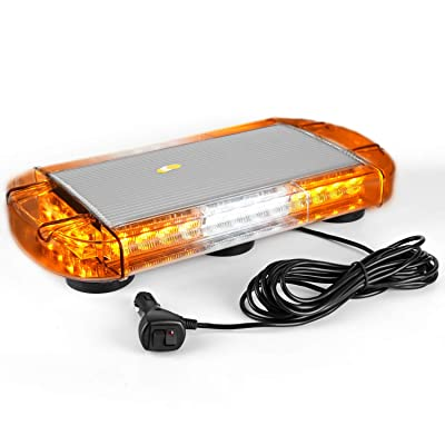 VKGAT 17 Inch 32 LED Roof Top Strobe Lights, Emergency Hazard Warning Safety Flashing Strobe Light Bar for Truck Car Vehicle, With Strong Magnet Base (Amber/White/Amber): Automotive