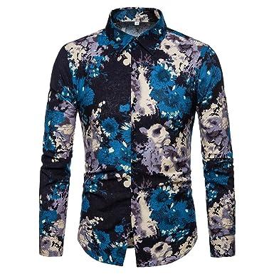 d1071659b8eaa AIMEE7 Chemise Hawaïenne Homme Chic Imprimé Fleur Floral Chemise à Manches  Longues Slim Fit Tee Shirt