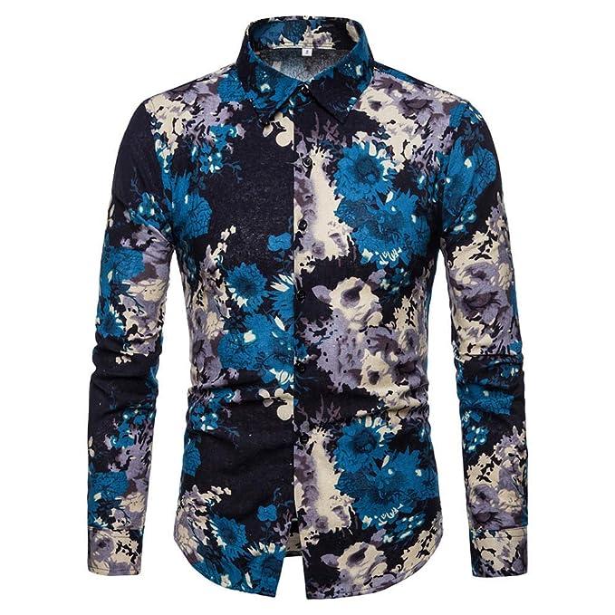Casual Totem Print Linen Shirt Man Long Sleeve Turn-Down Collar Button Down Tops