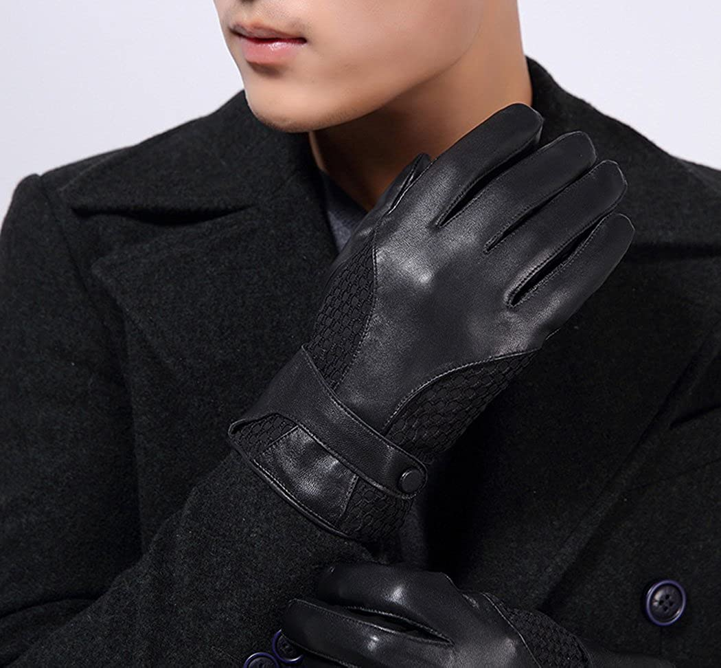 HINY Mens Black Stylish Lambskin Leather Driving Gloves with Plush Lining