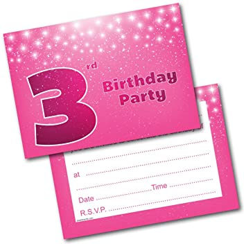 Doodlecards 3rd Birthday Party Invitations Girl Invites Pack