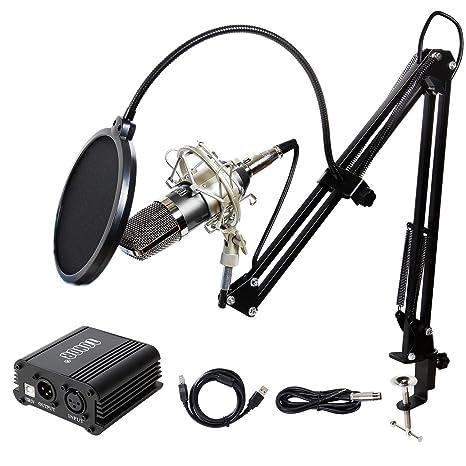 TONOR Micrófono Estudio Condensador Equipo PC Micrófono 3.5 mm XLR Pop Filtro (Phantom Alimentación Negro
