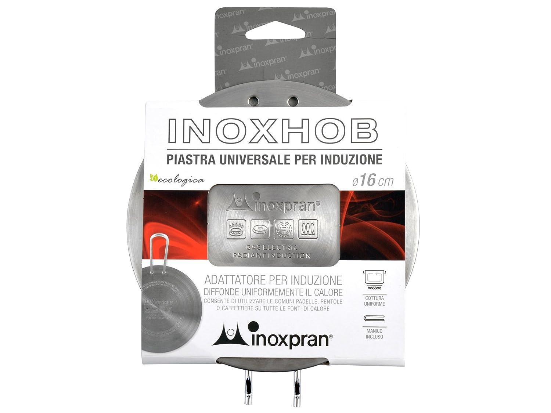 INOXPRAN Placa para inducción Placa de inducción, Acero Inoxidable, Gris, 16 x 16 x 0.5 cm