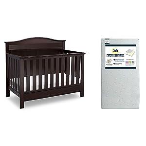 Serta Barrett 4-in-1 Convertible Crib, Dark Chocolate + Serta Perfect Slumber Dual Sided Recycled Fiber Core Crib and Toddler Mattress (Bundle)