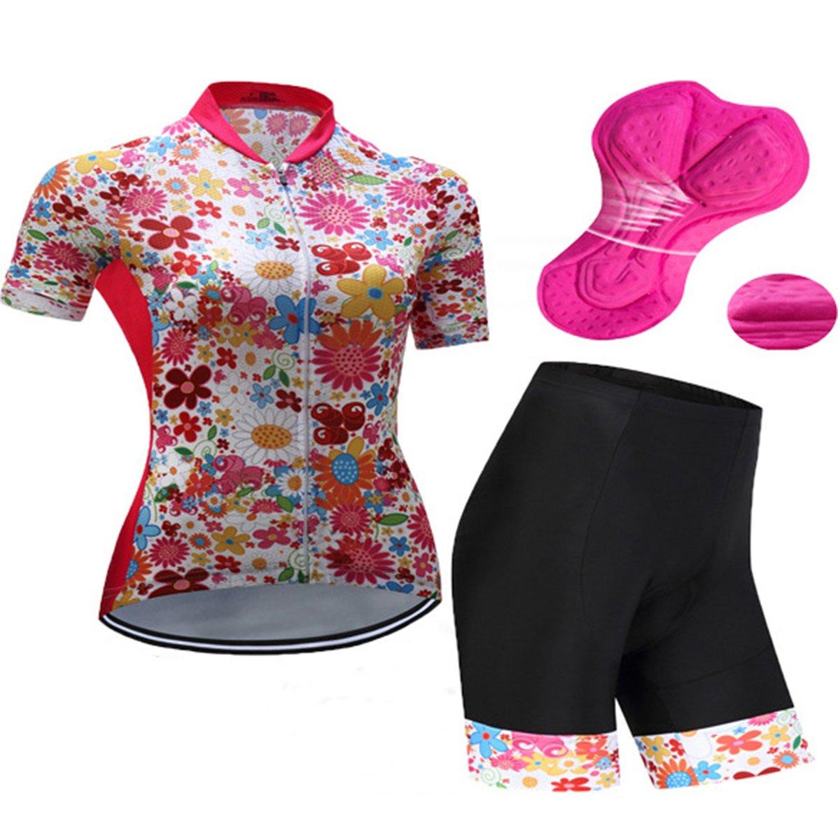 GWELL Damen Blumen Fahrradbekleidung Radtrikot Set Trikot Kurzarm + Radhose mit Sitzpolster G WELL