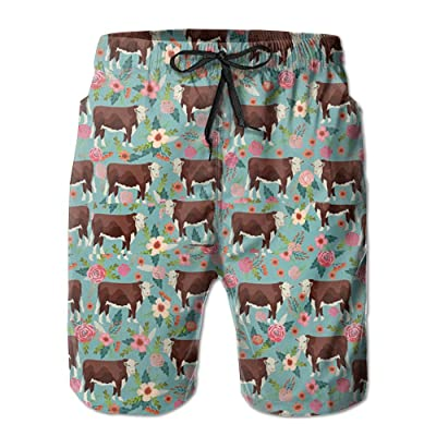 Men's Hereford Cow With Florals Quick Dry Beach Board Shorts Swim Trunks