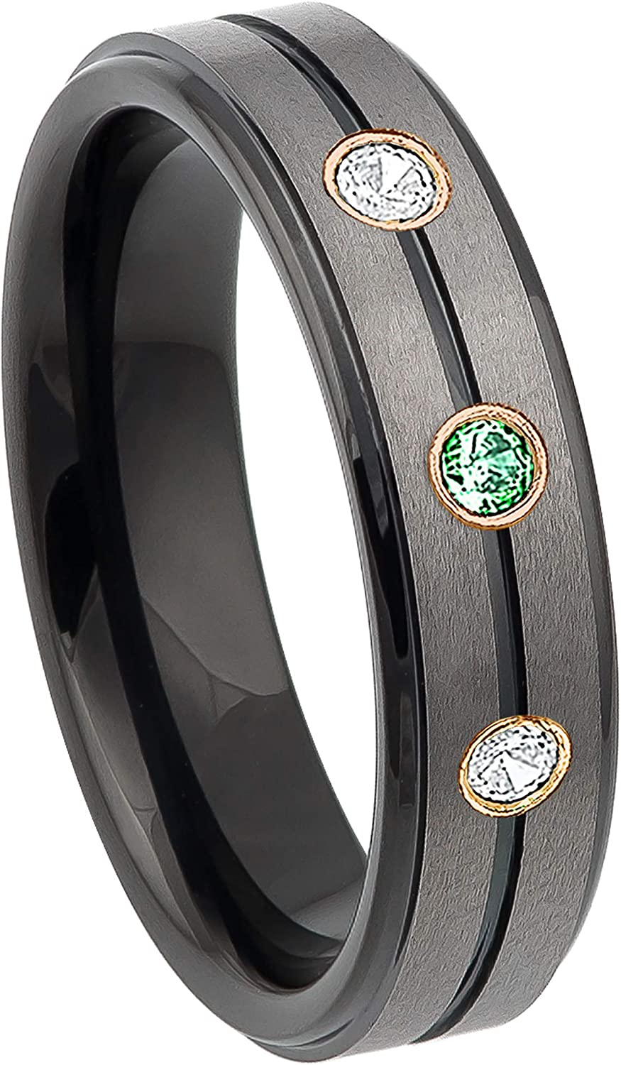Ring Size 11.5 Security Jewelers Black Tungsten 6mm Grooved Band Size 11.5
