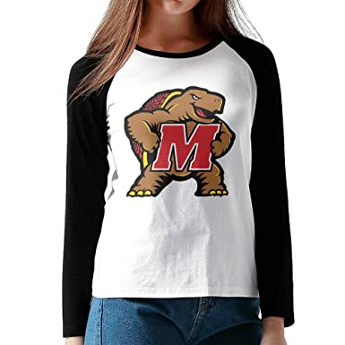 Womens University Of Maryland College UMD Logo Long Sleeve Raglan Baseball  Tees c82db32c47