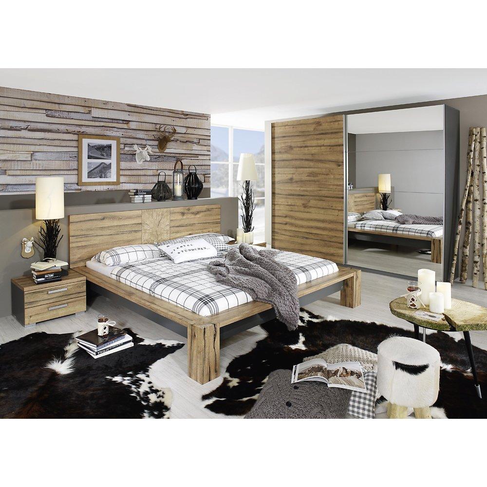 rauch Schlafzimmer-Set Davos 4-tlg., Wildeiche Nachbildung/graphit ...