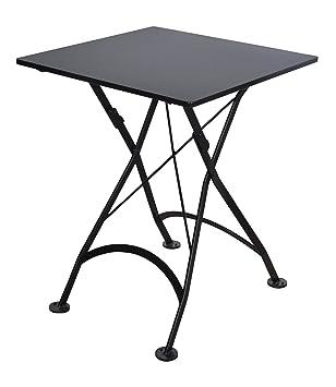 Mobel Designhaus French Café Bistro Folding Table, Jet Black Frame,  24u0026quot; X 24u0026quot