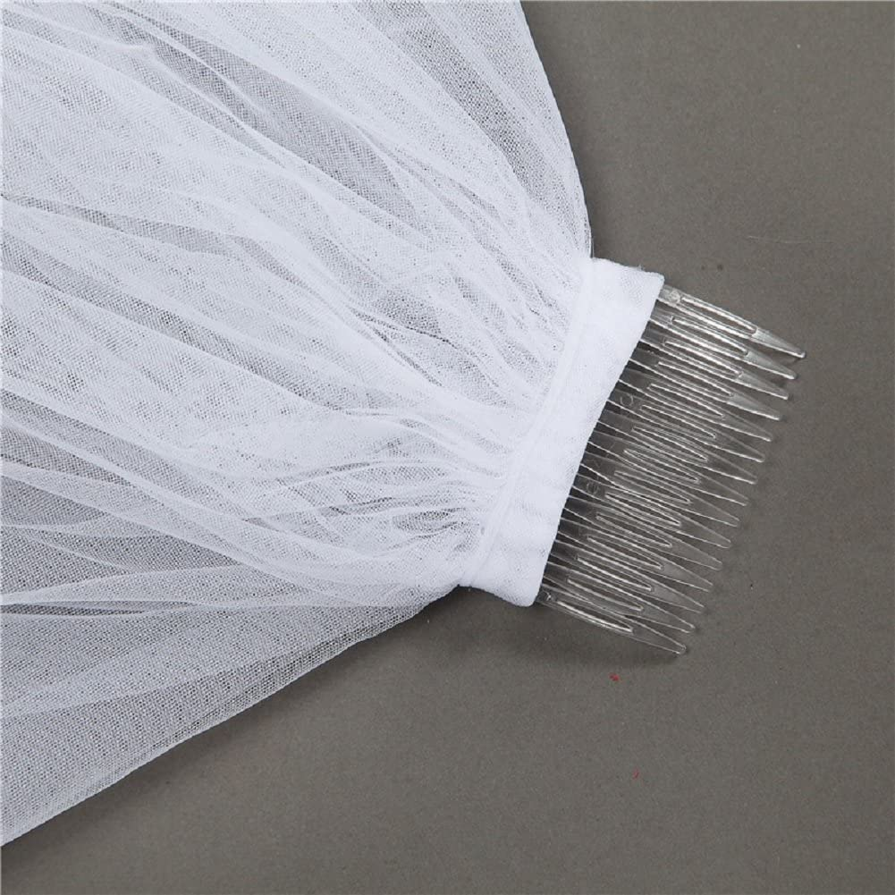 Eliffete 2T Tulle Wedding Bridal Lace Veil Long Cathedral Sequin Veil with Comb